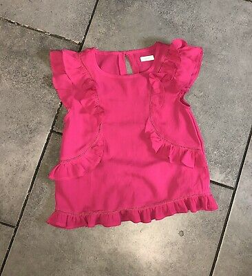 Next Girls Silky Raw Ruffle Top 7-8 Years (for 122cm/7y) Pink Short Sleeve VGC