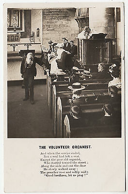 BAMFORTH SONG CARD - Volunteer Organist - The Service Ended - 1904 used postcard