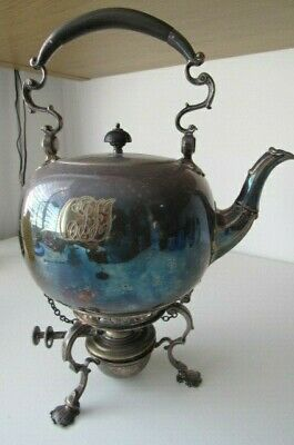 Silver Plated Victorian Spirit Kettle On Stand With Burner