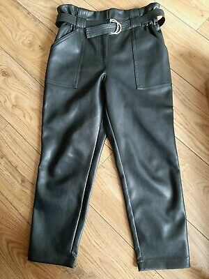 River Island Girls Age 9 Trousers Black Belted Faux Leather Brand New High Waist