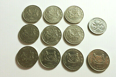 Singapore 1985 - 2011 20 cents x 10 different years