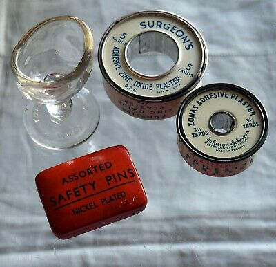 Vintage Safety Pins Tin With Contents 2 x Rolls of Tinned Plasters and Eye Bath