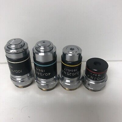 4 Parco microscope objectives 4/0.1, 10/0.25, 40/0.65 N.A & 100/1.25 N.A.OIL