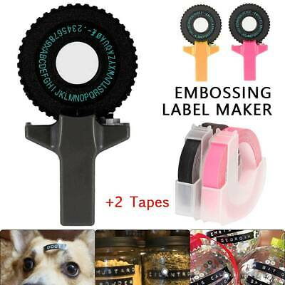 3D Embossing Label Maker Mini DIY Manual Typewriter fit for 9mm +2 label Tapes