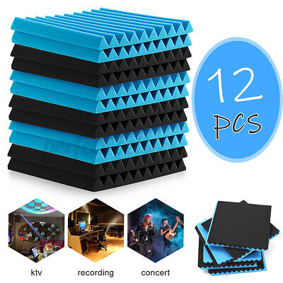 12-48PCS Acoustic Foam Panel Tiles Studio Sound Proofing Insulation Black & Blue