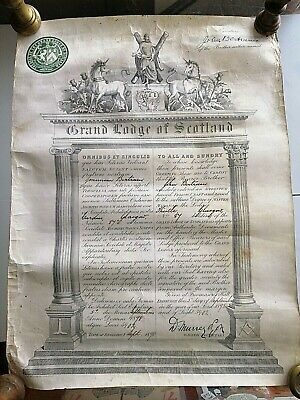 Masonic Certfiacte of Membership Grand Lodge Of Scotland Document Dated 1898