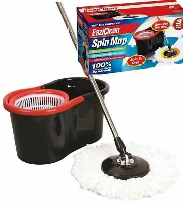 EAZICLEAN Spinning Mop Bucket 360° Floor Wash Cleaner Cleaning System Rotating