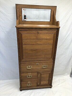 Antique Oak Drop Front Writing Desk With Mirror