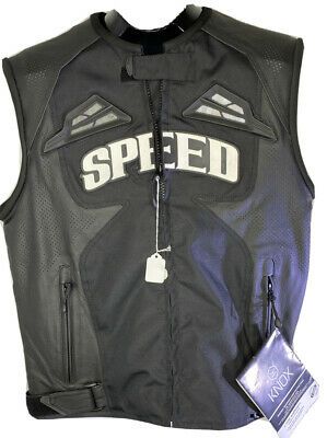 Speed and Strength Knox Black Street Leather/Textile Motorcycle Vest Large