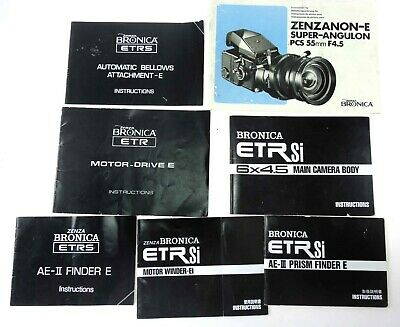 Bronica ETR Instruction Books And Other Related Literature.