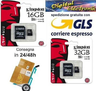 16GB 32GB Kingston 45MB/s Micro SD SDHC Class10 TF Memory Card con adattatore