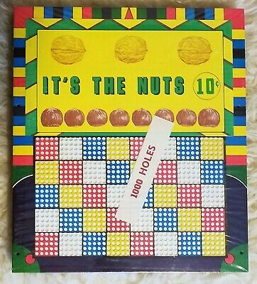 """Vintage 1,000 Hole Punch Board """"It's The Nuts"""" In Original Wrapper"""