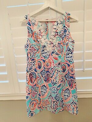 Lilly Pulitzer Gabby Shell Me About It Print Corded Lace Detail Shift Dress Sz:6