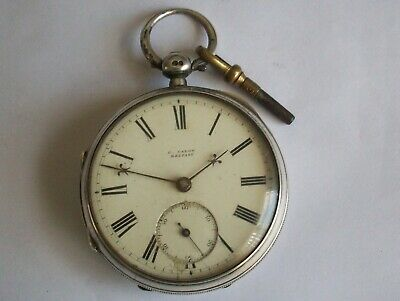 Antique Solid Silver Fusee Pocket Watch C.calow Belfast Needs Service