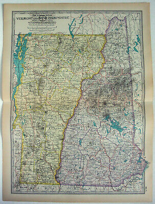 Original 1911 Map of Vermont & New Hampshire by The Century Company