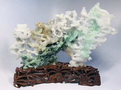 Antique 1920s Chinese Hand-Carved Jade Sculpture on Custom Wood Base