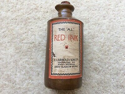 "C1930s VINTAGE THE ""A.L."" RED INK STONE INK BOTTLE INC ITS ORIGINAL LABEL"