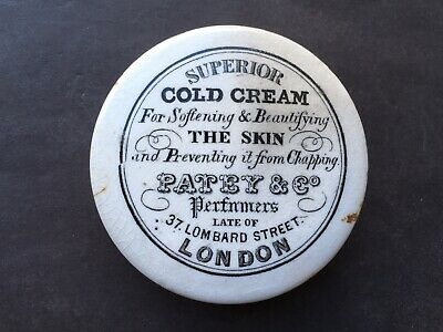 C1890s VINTAGE PAYEY&Co PERFUMERS SUPERIOR COLD CREAM LONDON POT LID