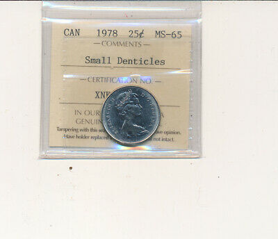 1978 25 cents in MS-65  Small Denticles Certified