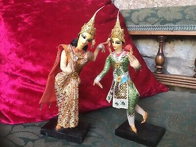 Pair Traditional Balinese Dancers ~ Figures Bali ~ Indonesia Sequin Gold Thread