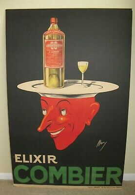 """Orig French 1920's Elixir Combier 46""""x29"""" RED DEVIL Art Deco Poster ATELIER MORY"""