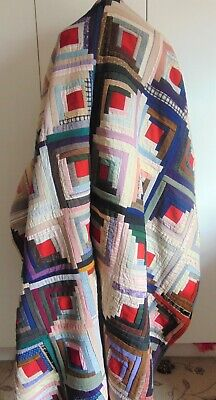 Antique log cabin pattern Victorian patchwork quilt bedcover throw 1900-1920