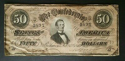 1864 $50 Confederate Note; C.S.A. Currency From Late Civil War Times