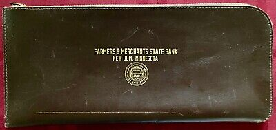 Vintage 1950s Bank Deposit Money Bag Zippered Leather Pouch EX-NRMT New Ulm MN