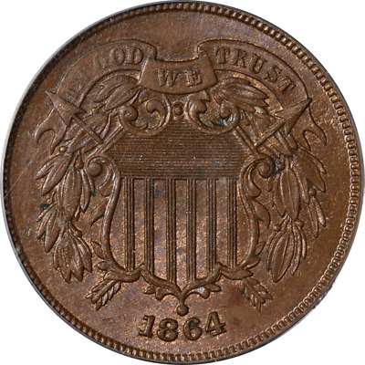 1864 Two (2) Cent Piece Large Motto PCGS MS63BN Nice Eye Appeal Nice Strike