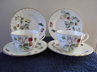 """Collectable Royal Worcester """"Strawberry Fair """" Cup , Saucer , Teaplate X 2 Vgc"""