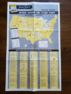 Original 1952 Oil & Gas Journal-Guide Map of Natural Gas & Cycling Plants Poster