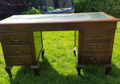 Antique Vintage Green Leather Top Twin Pedestal Knee Hole Writing Desk