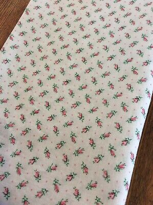 VINTAGE 1940's Authentic Feed Sack Fabric Dainty PINK ROSES w'Green Quilt~Sewing