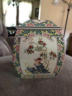 Vintage Tin Candy or Biscuit  Asian Floral Design Made in Holland
