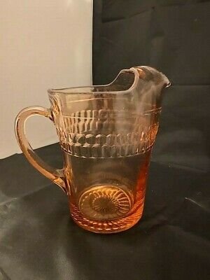 RARE Anchor Hocking 1935-1939 PINK ROULETTE Depression Glass Ice Tea PITCHER
