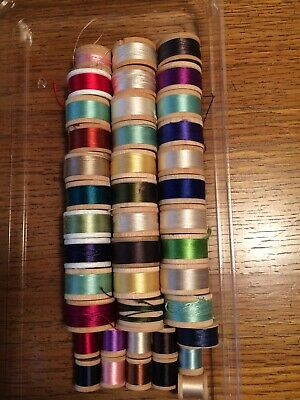 Lot Of 41 Vintage Silk Spools SILK Thread Some On Wooden Spools Fly Tying