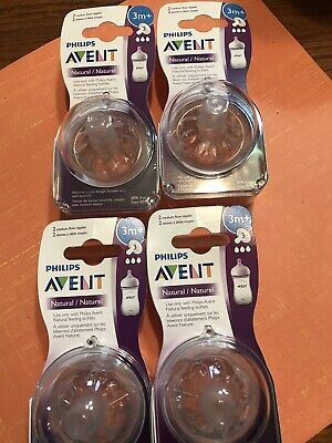 (4) 2-Pks Phillips Avent Natural Nipple, Medium Flow, 3m+ (8 Nipples Total)