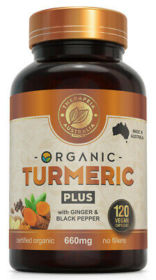 Organic Turmeric Capsules with Ginger and Black Pepper