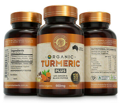 Organic Turmeric Capsules with Ginger and Black Pepper x 3 Bottles