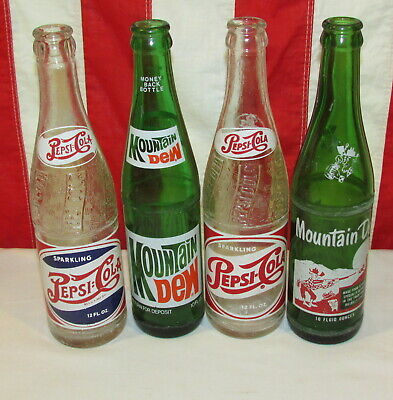 VINTAGE 1940s PEPSI COLA ACL DOUBLE DOT 12 OZ BOTTLE + Hill Billy Mt. Dew Bottle