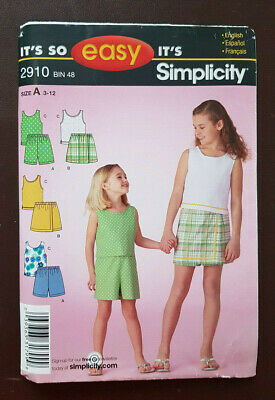 S-2910 Top Shorts Sewing Pattern Simplicity Child Size 3-4-5-6-7-8-10-12 Uncut