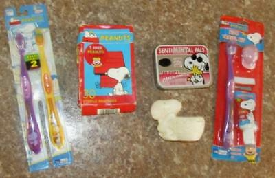 Vintage Lot of 5 Peanuts Snoopy Soap,Toothbrush,Sterile Bandages,Breath Mint Tin