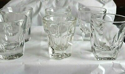 3 Pairs Vtg Heavy Glass Shot Glasses-- Collector