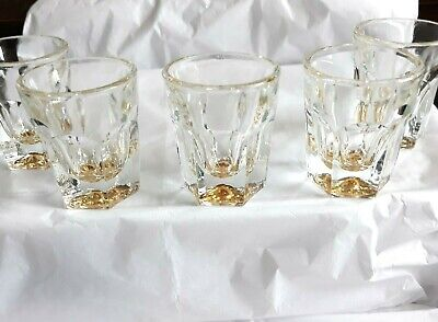 5 Vtg New Clear Glass Amber Bottom  Shot Glasses -- Collector Unused