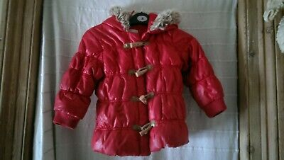 Next Red Shiny Padded Jacket with Faux Fur Edged Hood Toggle and Zip Closure Age