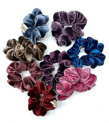 Velvet Scrunchie with Twisted Cord Trim 9 Colours New