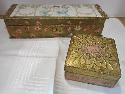 Antique paper covered decorative boxes - lot of 2 - Victorian style - lined - GC