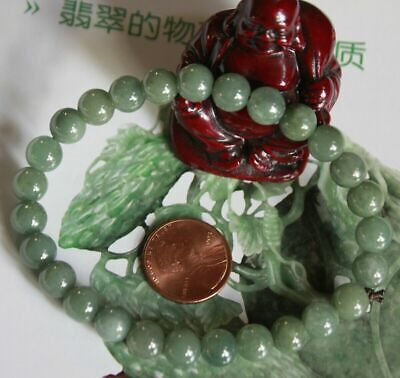 Genuine Natural Jade Grade A Beautiful Oily Green Jadeite Bracelet #Br556