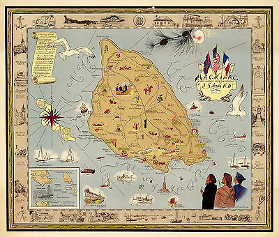 Early Pictorial Map Mackinac Most Historic Spot in Michigan Vintage Wall Poster