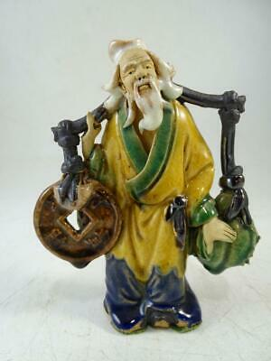 """Vintage Chinese Mud Man Figurine Statue Coin Offering China Art Pottery 5"""" Tall"""